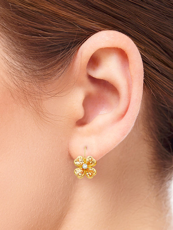 #25591 - 14K Solid Gold Flower Design Drop Earrings with High Quality Yellow & White CZ Stones