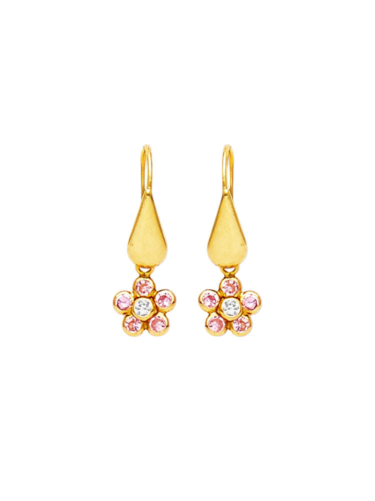 #25593 - 14K Solid Gold Flower Drop Earrings with Pink & White CZ