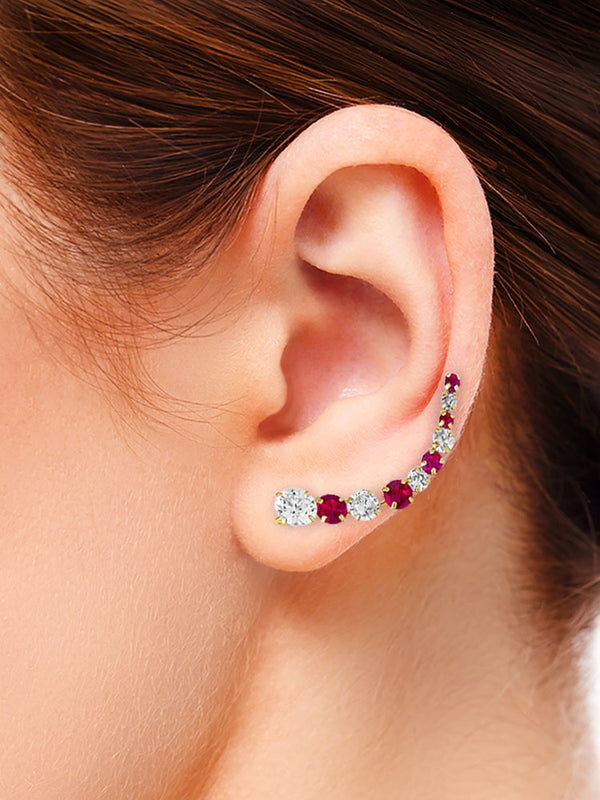 #25595 - 14K Solid Gold Crawler Earrings with High Quality Red & White CZ Stones
