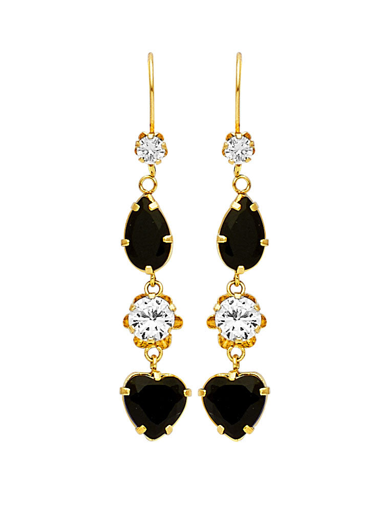 #25596 - 14K Solid Gold Drop Earrings with Black & White CZ