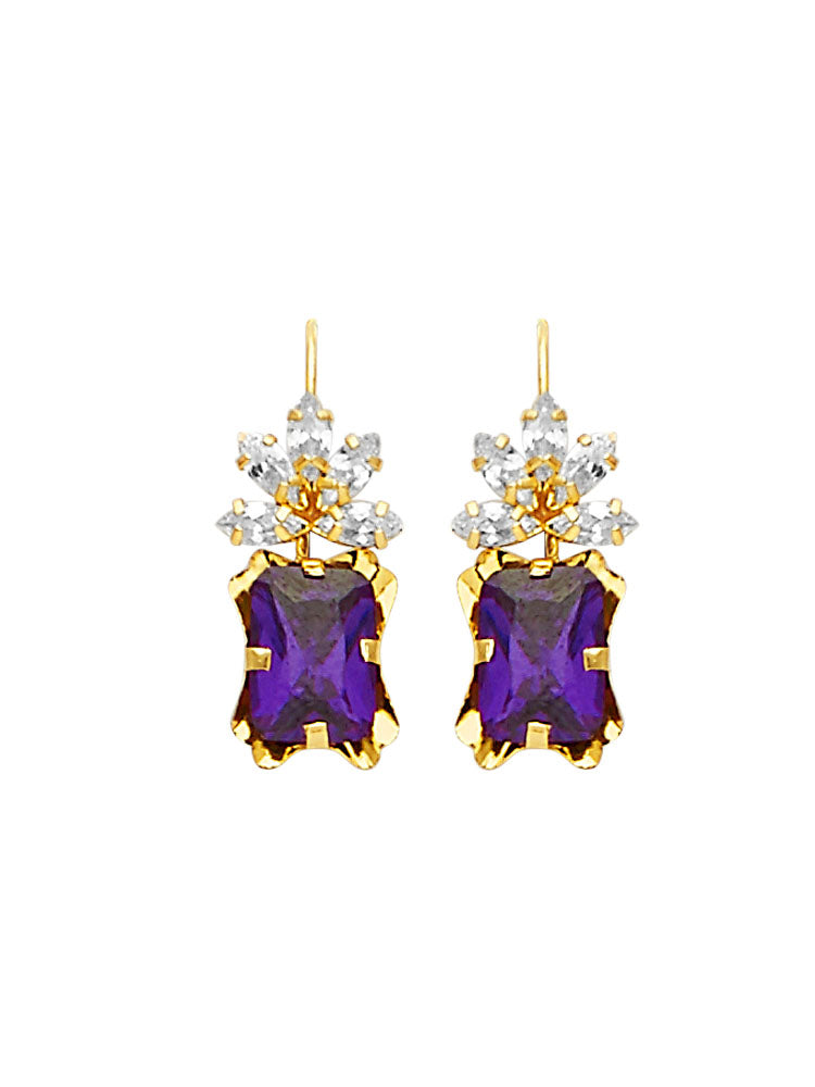 #25599 - 14K Solid Gold Drop Earrings with Purple & White CZ