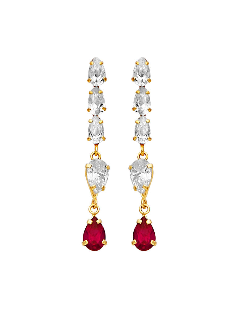 #25601 - 14K Solid Gold Drop Earrings with Red & White CZ in Butterfly Backing