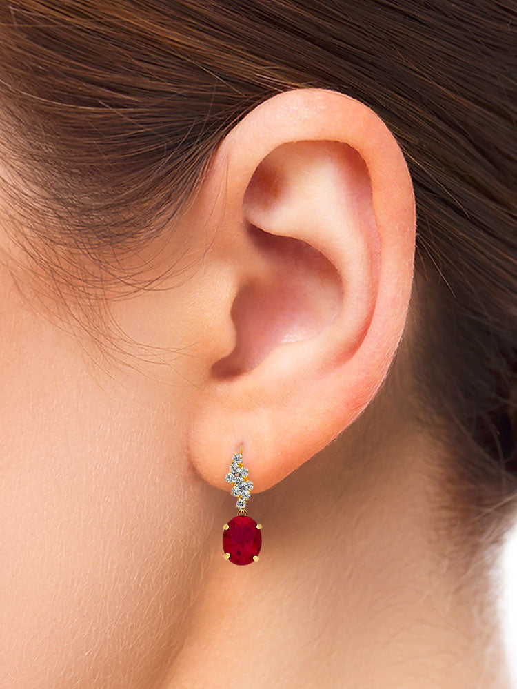 #25604 - 14K Solid Gold Drop Earrings with Red & White CZ