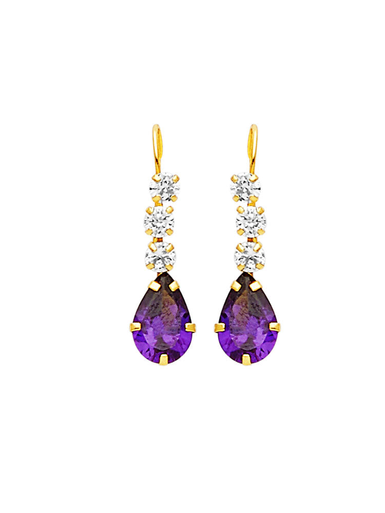 #25605 - 14K Solid Gold Drop Earrings with Purple & White CZ