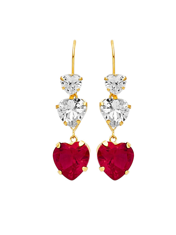 #25607 - 14K Solid Gold Drop Earrings with Red & White CZ