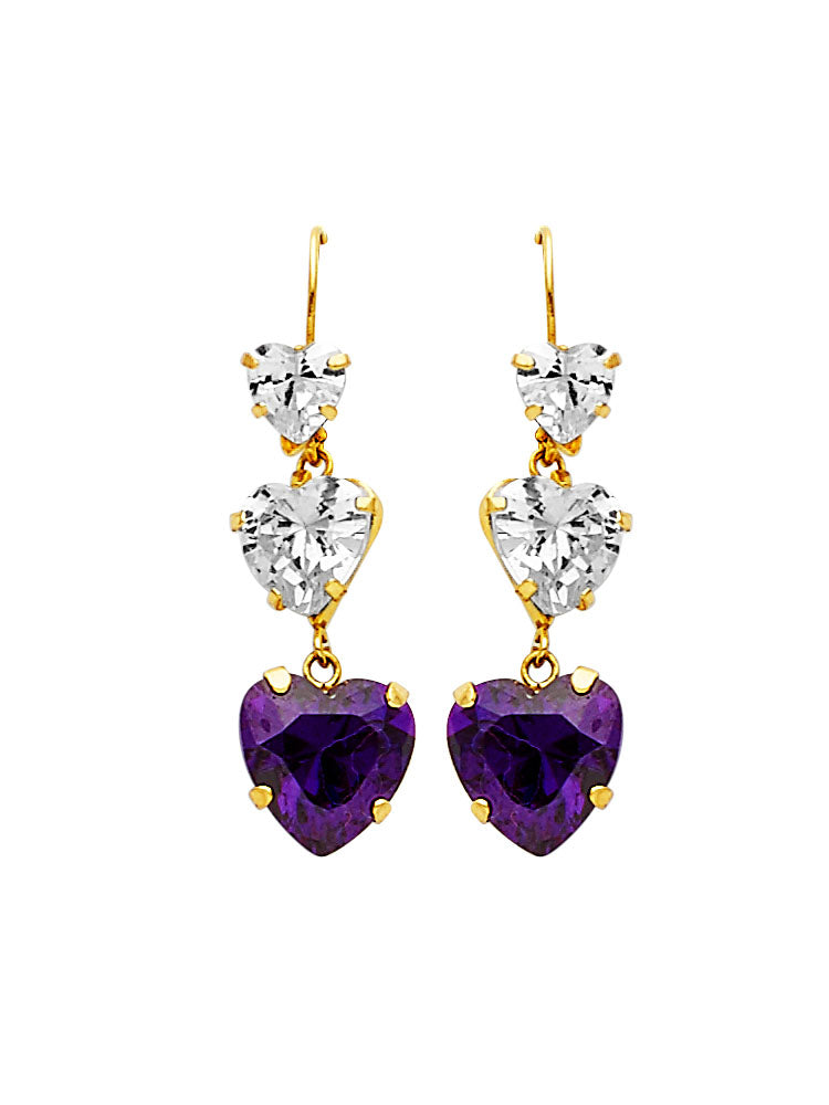 #25608 - 14K Solid Gold Drop Earrings with Purple & White CZ