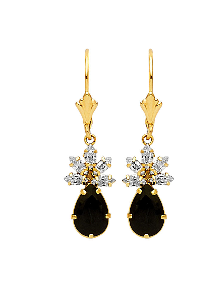 #25609 - 14K Solid Gold Drop Earrings with Black & White CZ