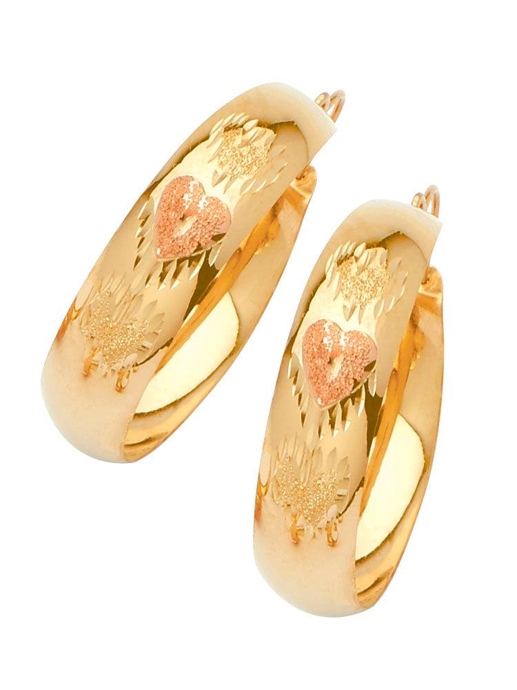#25655 - 14K Solid Two-Tone Gold Heart Design Bangle Hoop Earrings