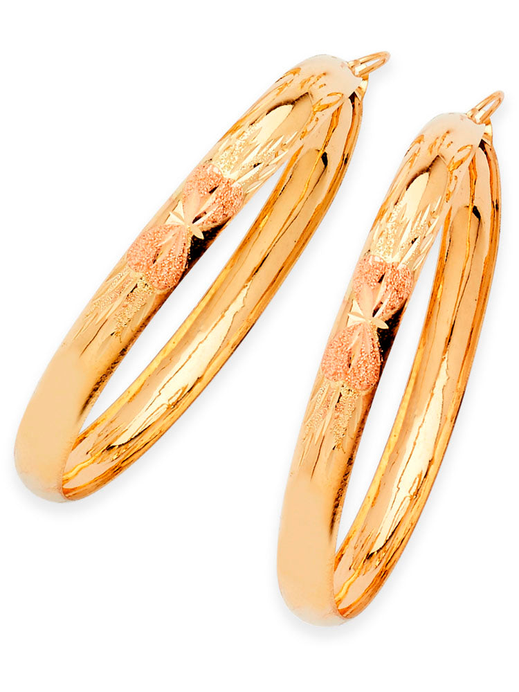 #25657 - 14K Solid Two-Tone Gold Heart Design Bangle Hoop Earrings