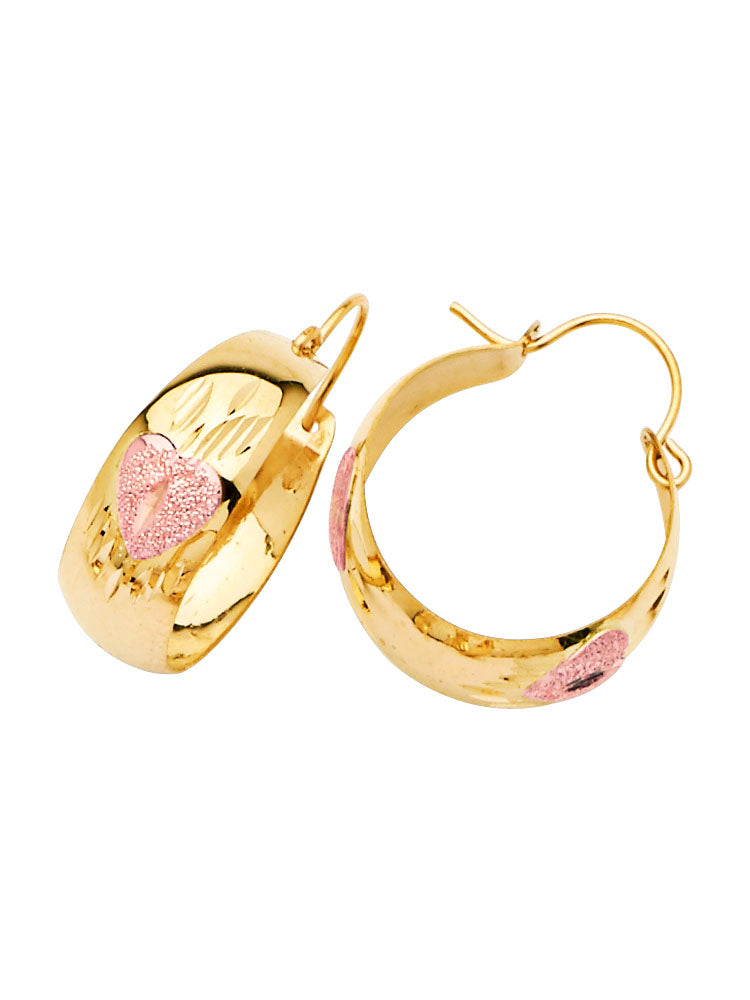 #25658 - 14K Solid Gold Two-Tone Heart Design Bangle Hoop Earrings
