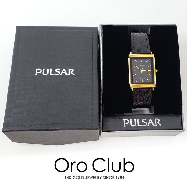 #40091 - Pulsar Gold-tone Face Accent Black Leather Watch For Men