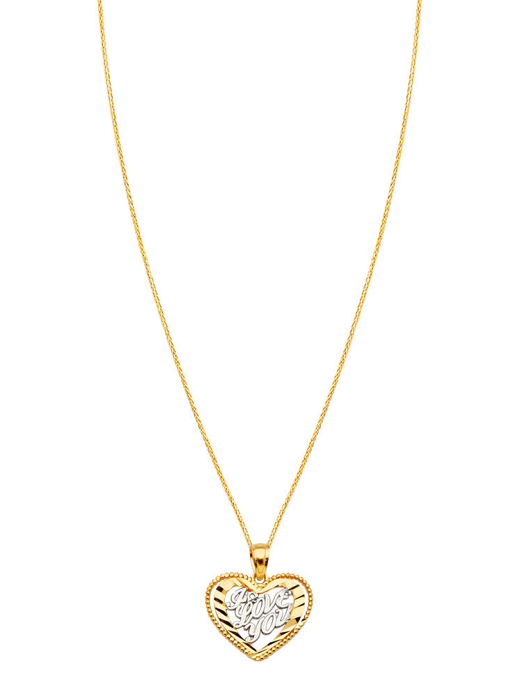 #80633 - 14K Solid Gold Wheat Chain with Heart Ladies Pendant in Two-Tone Gold