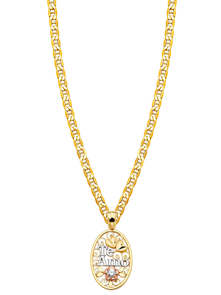 #80638 - 14K Solid Gold Mariner Chain with White CZ Ladies Pendant in Tri-Color Gold