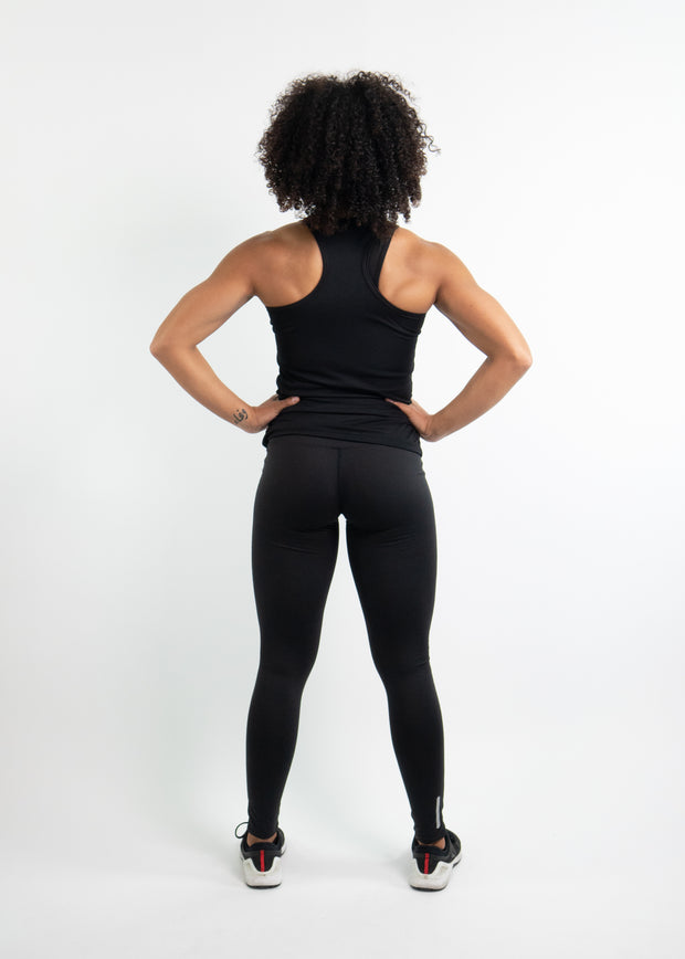 "Woman wearing black motivational PGB Fit fitness racerback with black PGB Fit fitness leggings that both say, ""Get Better"""