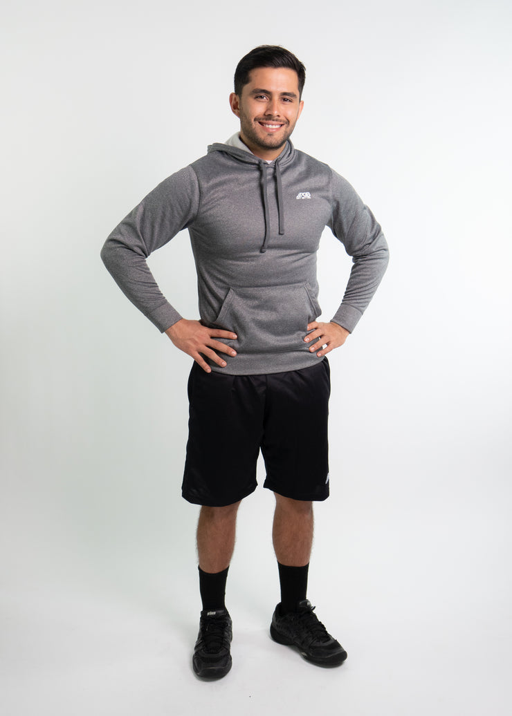 "Man wearing gray motivational PGB Fit hoodie with black PGB Fit fitness shorts that both say, ""Get Better"""