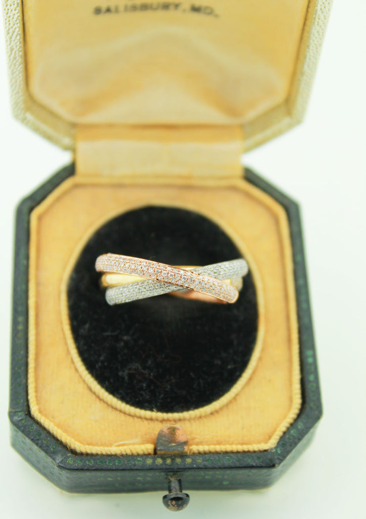 Rolling Tri-Gold Diamond Band - Kuhn's Jewelers