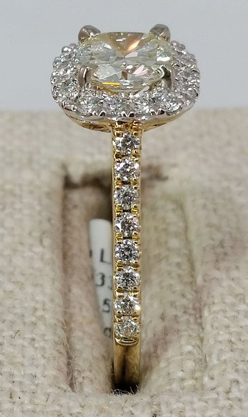 Cushion Cut Diamond Yellow Gold Ring - Halo
