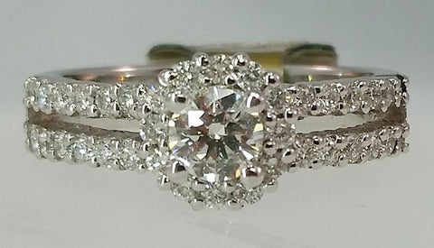 White Gold Split Shank Halo Ring with Pave