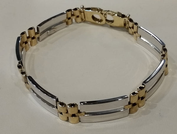 14K Yellow Gold & Sterling Men's Bracelet