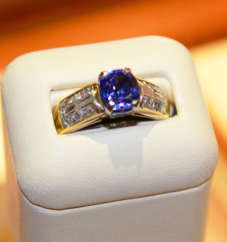 Blue Tanzanite set in Yellow Gold - Kuhn's Jewelers