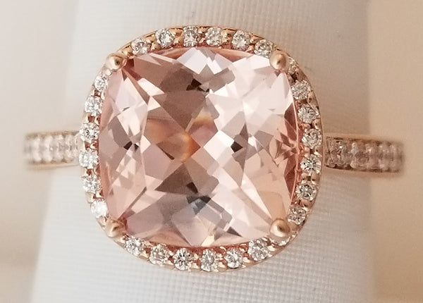 Rose Gold Morganite Square Halo Diamond Ring