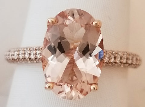 Rose Gold Morganite Oval Diamond Ring