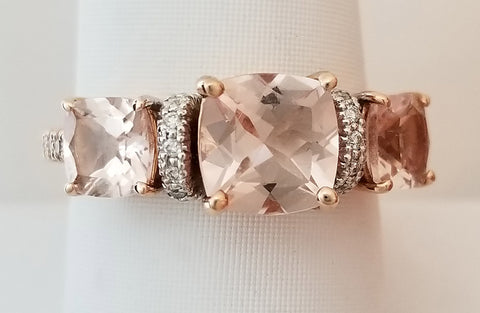 Rose Gold 3-stone Morganite and Diamond Ring
