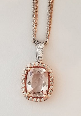 Princess Cut Morganite and Diamond Halo necklace