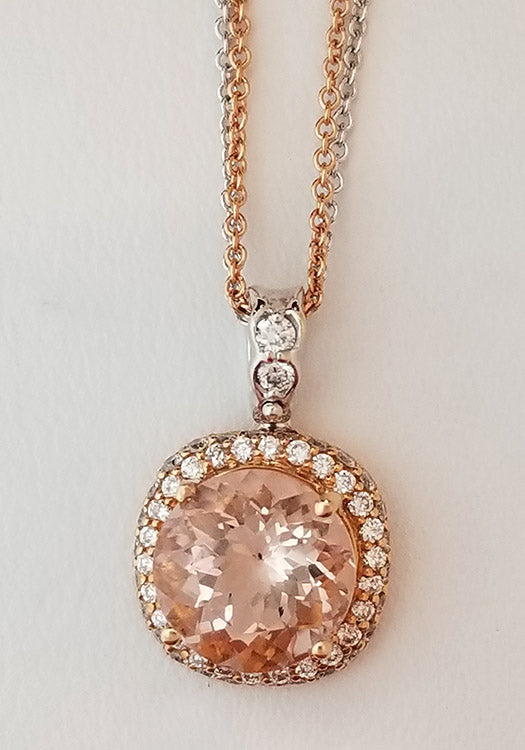 Round Morganite and Diamond Halo necklace