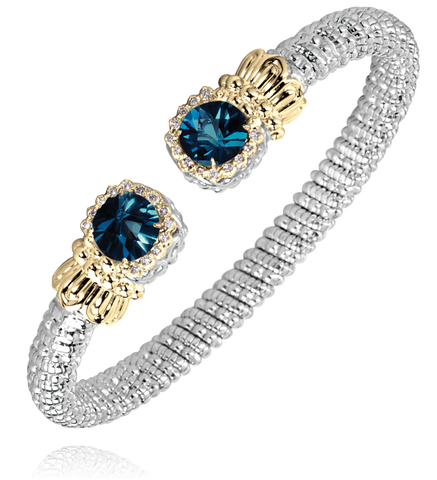 Vahan - 14K Gold & Sterling Silver, London Blue Topaz Bracelet - Kuhn's Jewelers - 22507DLBT06