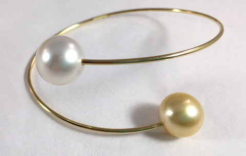 White & Golden South Sea Pearl Bypass Bracelet