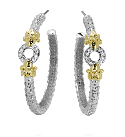 Vahan - 14K Yellow Gold & Sterling Silver Diamond Earrings - Kuhn's Jewelers - 42969D