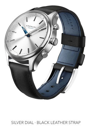 Connected Sekel Watch - Silver Dial & Black Leather Strap