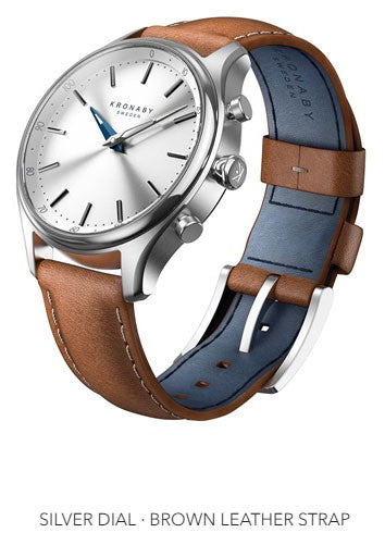 Connected Sekel Watch - Silver Dial & Brown Leather Strap