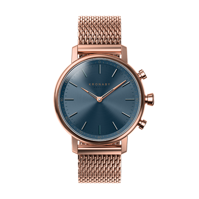 Connected Carat Watch - Blue Dial & Rose Gold Mesh Bracelet
