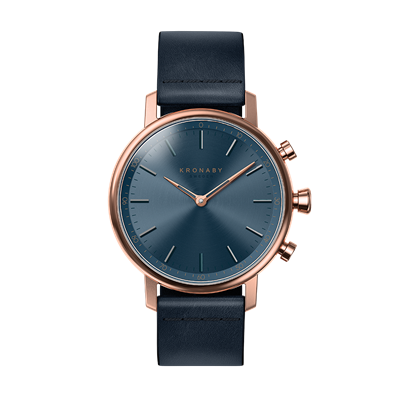 Connected Carat Watch - Blue Dial & Dark Blue Leather Strap