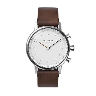 Connected Nord Watch - White Dial & Dark Brown Leather Strap