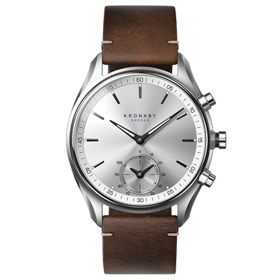 Connected Sekel Watch - Silver Dial & Dark Brown Leather Strap