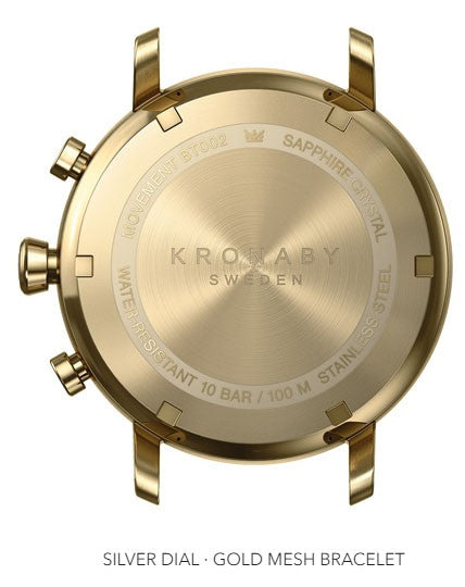 Connected Carat Watch - Silver Dial & Gold Mesh Bracelet