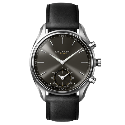Connected Sekel Watch - Dark Gray Dial & Black Leather Strap