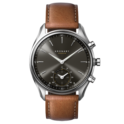Connected Sekel Watch - Dark Gray Dial & Brown Leather Strap