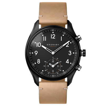 Connected Apex Watch - Black Beige Leather Strap
