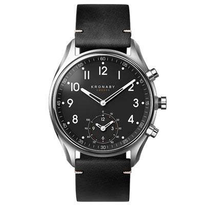 Connected Apex Watch - Black Leather Strap