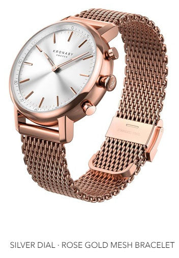 Connected Carat Watch - Silver Dial & Rose Gold Mesh Bracelet