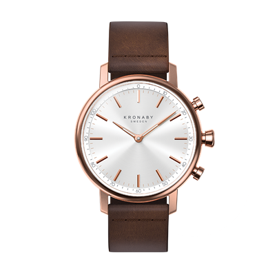 Connected Carat Watch - Silver Dial & Dark Brown Leather Strap