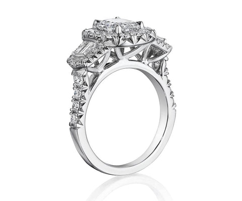 18K White Gold Diamond Engagement Ring - Henri Daussi