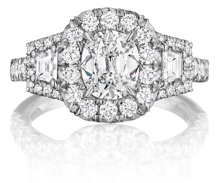 18K White Gold Diamond Halo 3-Stone Engagement Ring - Henri Daussi