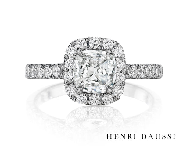18K White Gold & Diamond Engagement Ring - Henri Daussi