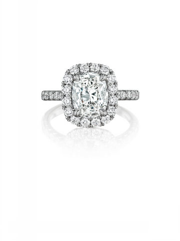 18K White Gold Diamond Halo Engagement Ring - Henri Daussi