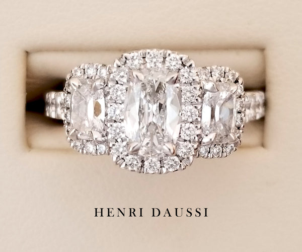 18K White Gold Pave 3-Stone Diamond Engagement Ring 1.11 ct - Henri Daussi